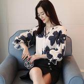 春新款氣質時尚七分袖印花V領燈籠袖襯衫女OLGT-3F-318-D朵維思