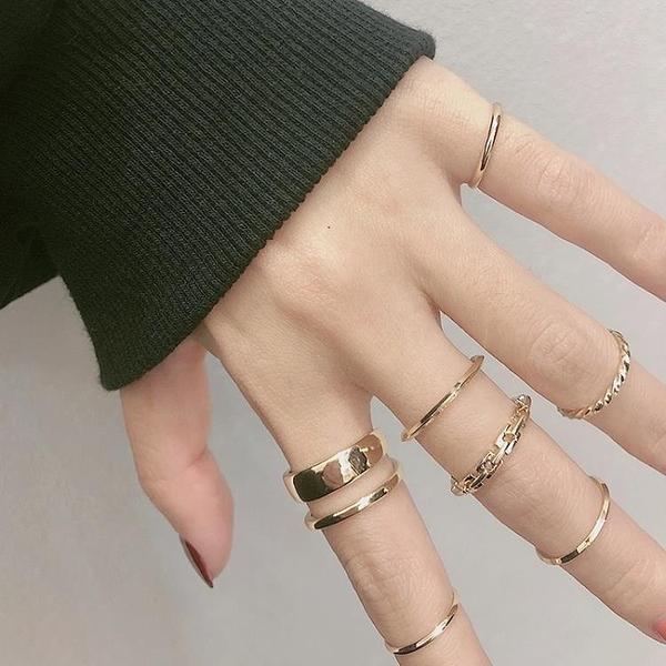 (7件套)戒指女ins潮時尚個性食指小指尾戒冷淡風小眾不掉色飾品  【夏日新品】