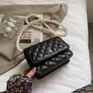 斜背包/側背包 山茶花珍珠小方包包 女包2021新款小香风潮時尚菱格鏈條單肩斜挎包