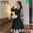 2021早春新款女裝禮服法式復古小眾設計感小黑裙黑色洋裝赫本風 蘿莉新品