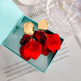 耳環 立體 紅色 花瓣 吊墜 金屬 拼接 誇張 個性 長款 耳釘 耳環