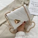 小方包春夏洋氣小包包女包2021新款潮時尚鍊條菱格包百搭側背斜背小方包 雲朵