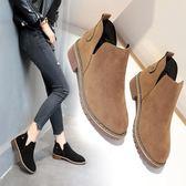 新款秋冬季平底女鞋chic短靴學生短筒靴子 免運