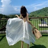 白色吊帶洋裝巴厘島三亞性感露背不規則大擺長裙超仙度假沙灘裙 【ifashion·全店免運】