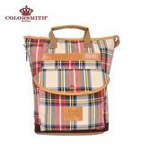 【COLORSMITH】LD・ 手提可收納後背兩用包-紅格紋・LD1388-RH-S