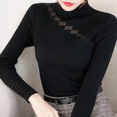 斜網紗半高圓領長袖針織衫女毛衣女上衣打底衫女1920PF310快時尚