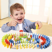 木製玩具 木製150顆動物多造型多米諾骨牌