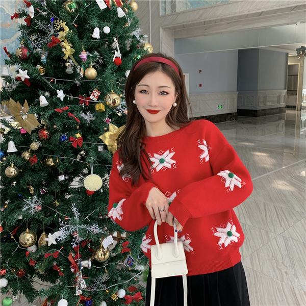 出清388 韓國風雪花毛衣毛球雪花針織衫長袖上衣