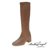 長靴 完美比例素面顯瘦中跟長靴(卡其)*BalletAngel【18-L888ca】【現+預】