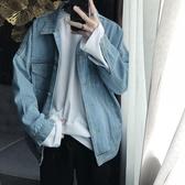 牛仔外套短句先生秋裝韓版ulzzang淺藍色牛仔外套男士寬鬆夾克上衣潮流新品
