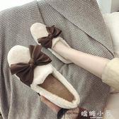 毛毛鞋女冬外穿2018新款韓版平底百搭加絨蝴蝶結豆豆鞋子女棉鞋女