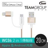 [富廉網] 【Team十銓科技】MFi認證 Lightning & Micro USB 2合1傳輸充電線 WC06 尊爵金/太空灰