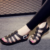 (中秋特惠)雨鞋涼鞋透明水晶正韓果凍鞋女涼鞋夏防滑平底塑料海邊沙灘鞋復古學生雨鞋