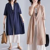 棉麻盤釦造型罩衫外套-中大尺碼 獨具衣格 J3112