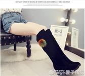 黑色過膝長靴子女細跟尖頭高跟鞋2020秋冬新款網紅瘦腿加絨高筒靴-  (橙子精品)