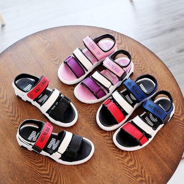 現貨出清 男童鞋涼鞋2018新夏季正韓中大童小孩學生寶寶鞋女童鞋兒童沙灘鞋 7-31