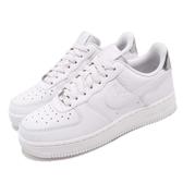 Nike 休閒鞋 Wmns Air Force 1 07 ESS 白 銀 女鞋 皮革 基本款 運動鞋【PUMP306】 AO2132-003
