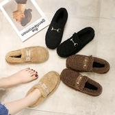 毛毛鞋女冬外穿百搭歐洲站單鞋平底社會鞋子豆豆鞋 歌莉婭