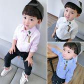 韓版新款春秋中大童男童兒童白襯衫格子襯衣