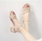 涼鞋女士仙女風新款百搭中跟粗跟時裝高跟鞋
