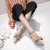 中大尺碼女鞋 中跟一字扣帶中空單鞋包頭涼鞋女尖頭粗跟高跟鞋女鞋 LJ1934【VIKI菈菈】