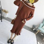 梨卡 - 韓國甜美新款秋冬針織長裙連身裙一字領針織衫毛衣吊帶裙上衣兩件套套裝B751