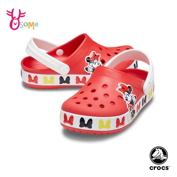 Crocs卡駱馳童鞋 女童洞洞鞋 米妮布希鞋 智必星 園丁鞋 防水布希鞋 涼拖鞋 迪士尼 A1776#紅色