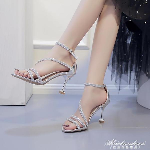 夏季歐美鉚釘水鑽高跟鞋2020新款性感一字扣帶貓跟中跟夜店涼鞋女 黛尼時尚精品