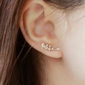 925純銀耳環 鑲鑽(耳針式)-奢華設計葉子生日情人節禮物女飾品3色73ag151【巴黎精品】