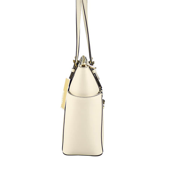 【MICHAEL KORS】金logo雙口袋拉鏈側肩包(珍珠白) 30F2GTTT8L 117