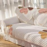 外貿純棉桃心花沙髮墊夏季布藝全棉沙髮巾罩四季通用防滑坐墊現代