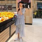 春裝2019款女裝韓版圓領短袖長款不規則網紗拼接T恤洋裝長裙子