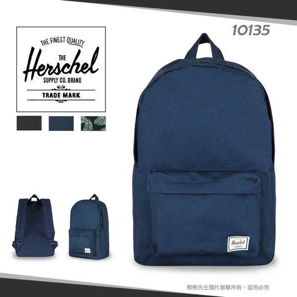 《熊熊先生》Herschel素面/花布雙肩包透氣寬版背帶Classic Mid帆布後背包造型書包10135輕量休閒隨身包