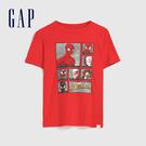 Gap男童 漫威主題印花圓領短袖T恤 586389-正紅色