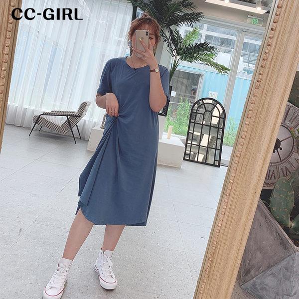 中大尺碼 休閒扭結短袖長洋裝~共三色 - 適XL~4L《 68278 》CC-GIRL