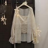 防曬衣春夏新款女裝日系軟妹蕾絲寬鬆燈籠袖長袖中長款防曬衫薄款雪紡衫 全網最低價