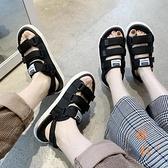 涼鞋男夏季拖鞋時尚沙灘兩用情侶一字外穿涼拖【橘社小鎮】