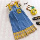 S背帶裙 黃格黃背袋拼接藍-月兒的綺麗莊園