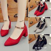 紅色結婚鞋新娘鞋婚禮紅鞋夏天軟底粗跟高跟女單鞋中跟孕婦鞋 可可鞋櫃