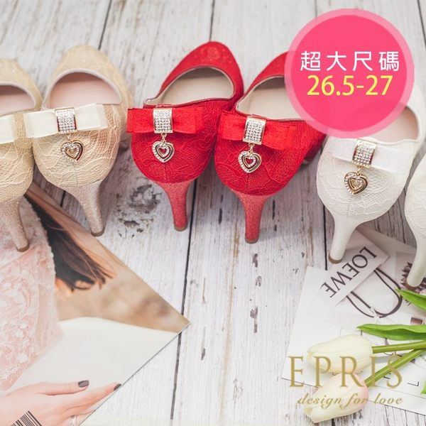 現貨 MIT小中大尺碼新娘婚鞋推薦 心之邱比特 蕾絲蝴蝶結水鑽真皮腳墊高跟鞋子26.5-27EPRIS艾佩絲
