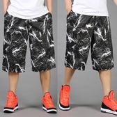 大號男裝運動中褲男士寬鬆七分褲超大碼籃球褲加肥加大碼短褲夏 萬聖節