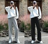 棉褲 加絨運動褲子女秋冬季新款寬鬆闊腿棉褲休閒加厚灰色束腳衛褲【快速出貨】