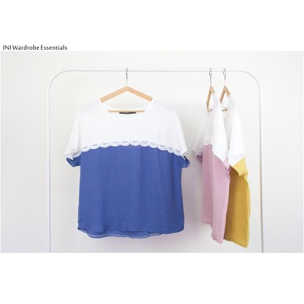 【INI】優雅氛圍、拼接蕾絲優雅寬版上衣.藍色