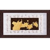 金箔畫 黃金畫純金彩金系列~【花開富貴】....82 x 48 cm外徑 82 x 48