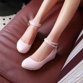 娃娃鞋淺口單鞋平跟內增高一字扣平底舒適防滑韓版鞋娃娃鞋 全館免運