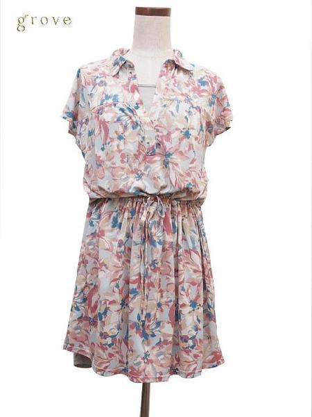 grove 法式風情 腰抽繩綁帶洋裝
