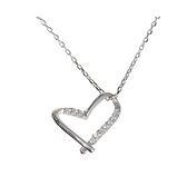 925純銀項鍊+鋯石吊墜-鏤空心形線條微鑲女飾品3色74aq37【巴黎精品】