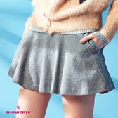 【SHOWCASE】毛料小波浪剪裁短裙(灰)