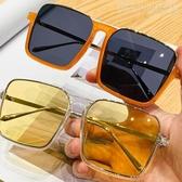 網紅款超大方框下半框眼鏡框男顯瘦墨鏡遮臉橘色平光鏡陽鏡女 小明同學