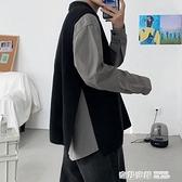 毛衣馬甲背心韓版潮流男設計感情侶上衣bf原宿風側開叉針織衫馬夾 奇妙商鋪